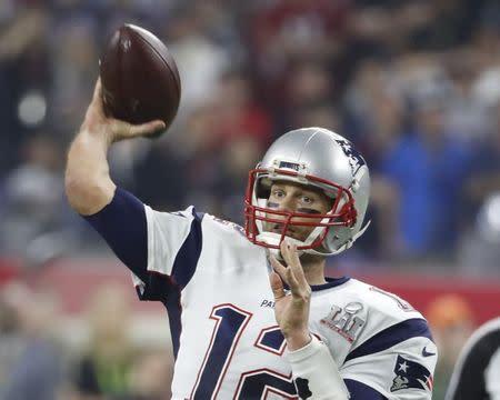 El mariscal de campo de los New England Patriots, Tom Brady, durante el Super Bowl disputado en Houston contra los Atlanta Falcons.
