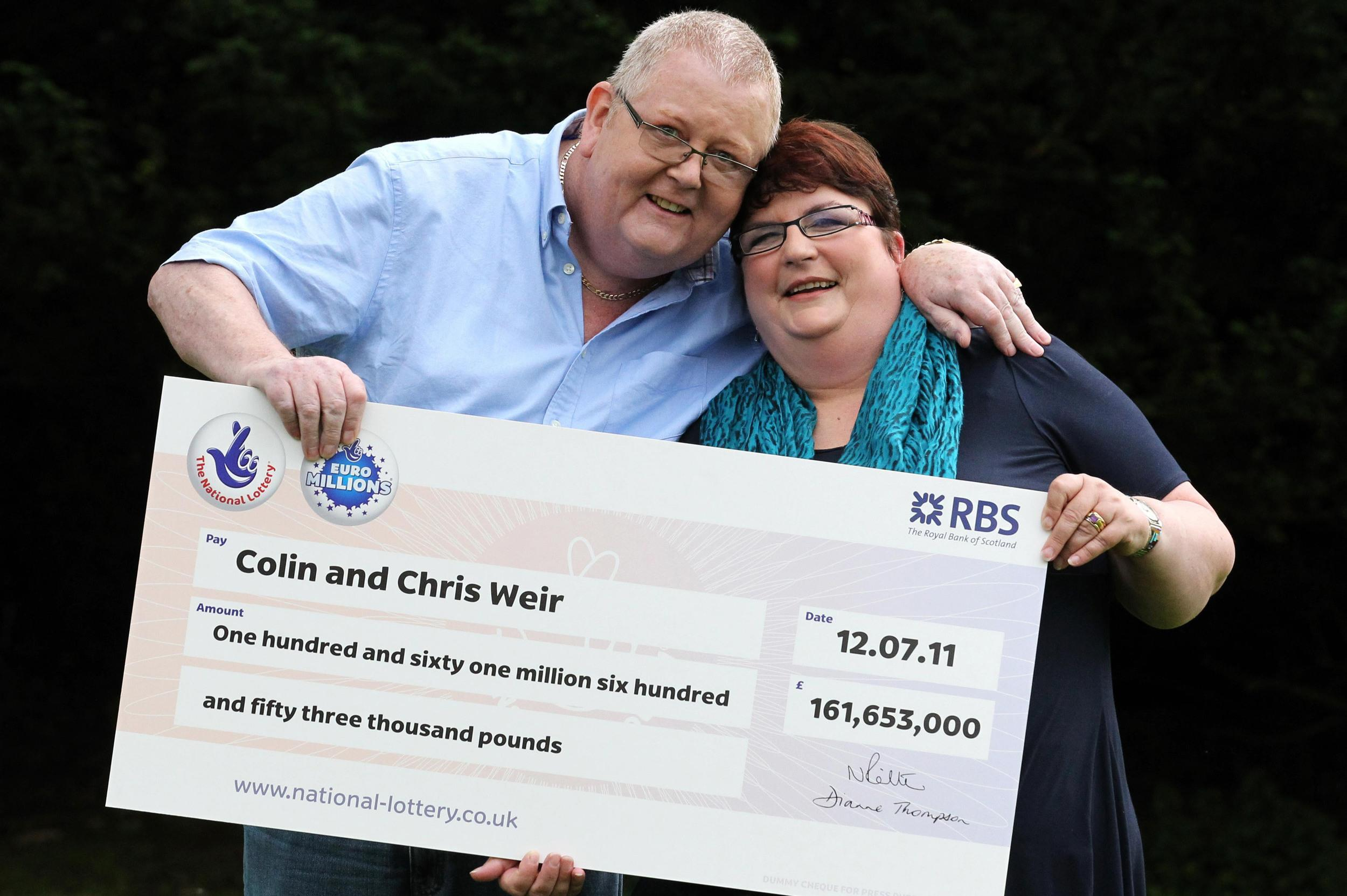 <p>Colin and Chris Weir, from Largs in Ayrshire scooped 161 million in the EuroMillions draw after several rollovers in 2011. They arethe biggest British lottery winners in history.</p>  <p></p>
