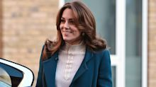 Duchess of Cambridge wears statement Jigsaw coat to serve breakfast to school children