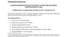 Seaspan Reports Financial Results for the Quarter Ended March 31, 2018