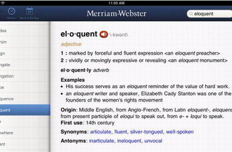 Merriam-Webster Dictionary now available on iPad for free