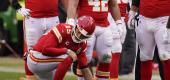 Kansas City Chiefs quarterback Patrick Mahomes kneels on the field after getting injured. (AP)