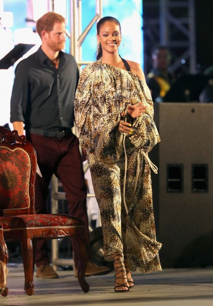Rihanna's printed Marni dress was her most eye-catching ensemble [Photo: Getty]