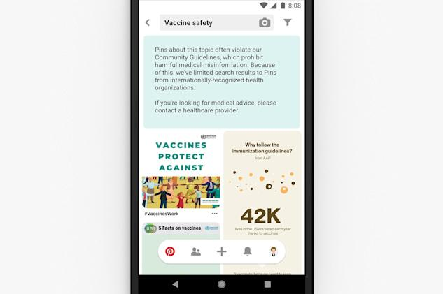 Pinterest will only surface legitimate vaccine info from health groups
