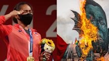 Philippines' first Olympic gold medalist was once accused of plotting to overthrow the president, but the man who accused her is now thanking her for winning