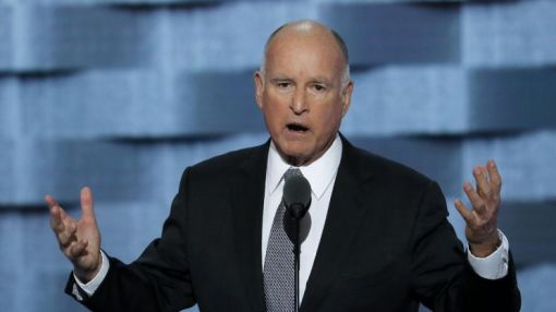 Jerry Brown is with Hillary, because Trump