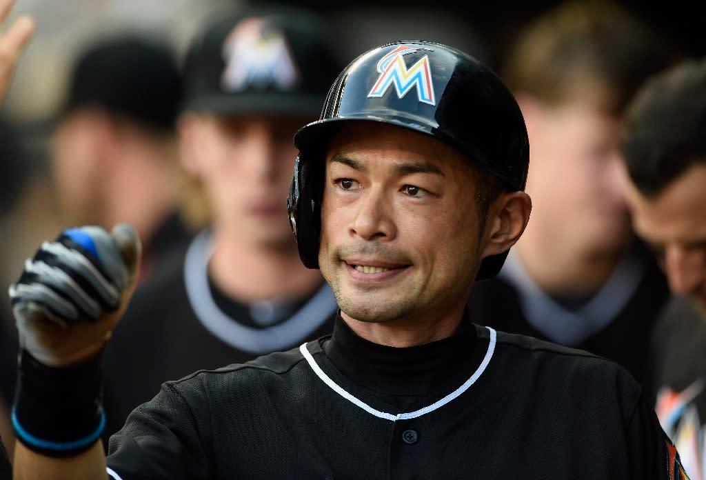Miami Marlins outfielder Ichiro Suzuki celebrates scoring a run against the Minnesota Twins, on June 9, 2016