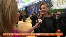 Pregnant Yvonne Strahovski walks the Emmys gold carpet