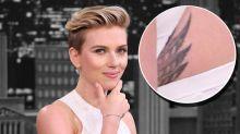 Scarlett Johansson Reveals Secret Tattoo in White Dress