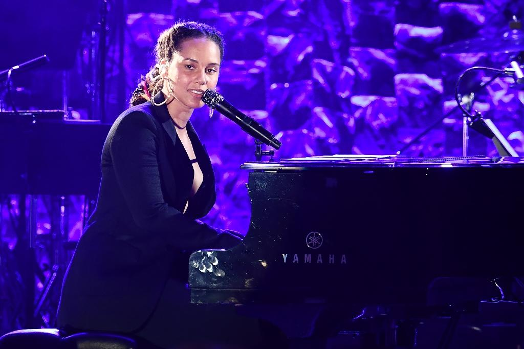 American singer, songwriter, record producer, pianist, Alicia Keys performs during the traditional Clive Davis party on the eve of the 60th Annual Grammy Awards on January 28, 2018, in New York, where rapper Jay-Z was guest of honor (AFP Photo/Jewel SAMAD)
