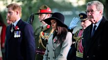 Meghan Markle deploys wide-brimmed hat and double-breasted coat for Anzac Day Dawn Services