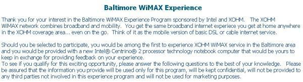 Sprint and Intel signing up Baltimore-area XOHM testers
