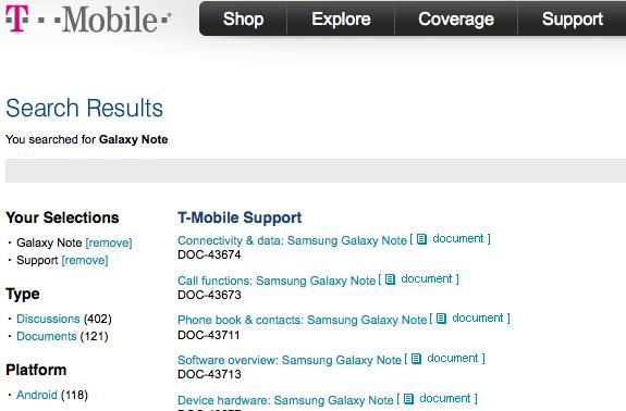 Samsung Galaxy Note documents pop up on T-Mobile's site, prepares for its grand entrance