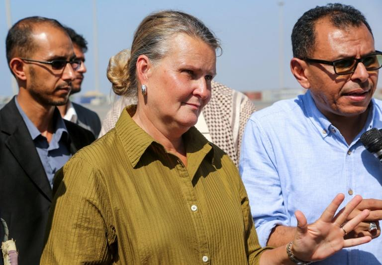 UN Resident Coordinator in Yemen Lise Grande during a visit to the Red Sea port city of Hodeida in January 2019 (AFP Photo/-)