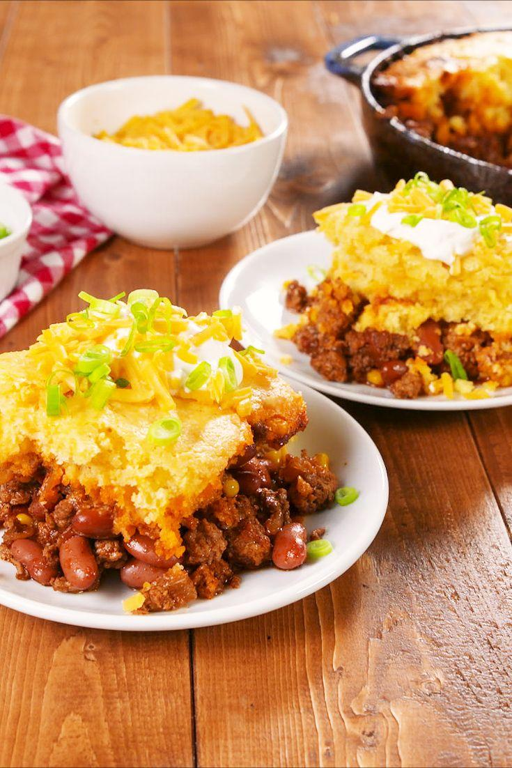"""<p>Reese suggests this as an easy weeknight dinner for the fam!</p><p>Get the recipe from <a href=""""https://www.delish.com/cooking/a23891306/reese-witherspoons-corn-bread-chili-pie-recipe/"""" rel=""""nofollow noopener"""" target=""""_blank"""" data-ylk=""""slk:Delish"""" class=""""link rapid-noclick-resp"""">Delish</a>. </p>"""