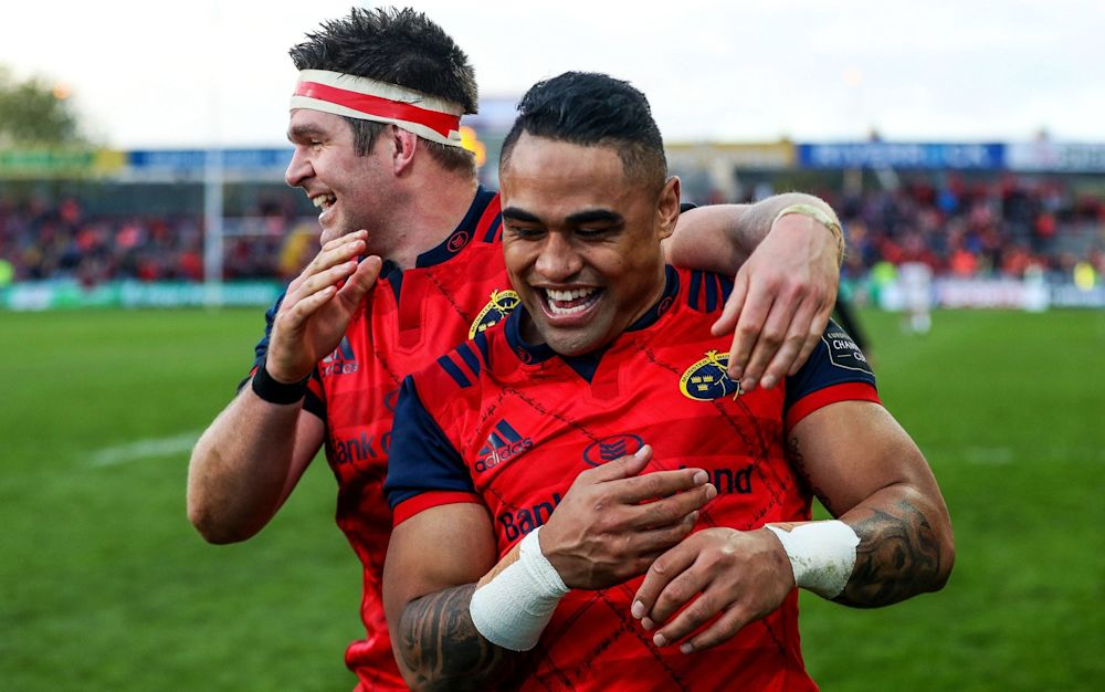 Billy Holland and Francis Saili celebrate victory - Rex Features