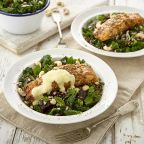 How to make herb crusted salmon with a crunchy kale and beetroot salad
