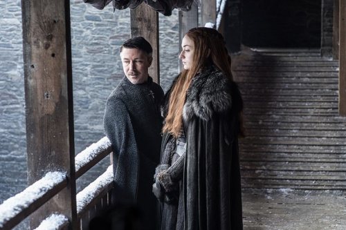 Aidan Gillen as Petyr 'Littlefinger' Baelish and Sophie Turner as Sansa Stark in HBO's Game of Thrones . (Photo Credit: HBO)