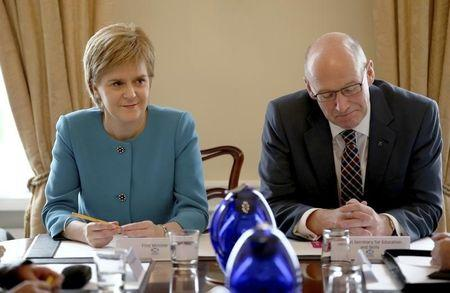 Scotland's First Minister Nicola Sturgeon and Deputy First Minister John Swinney during an emergency cabinet meeting at Bute House in Edinburgh