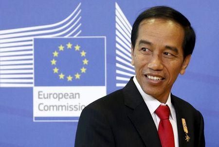Indonesia's President Joko Widodo arrives for a meeting with EU Commission President Juncker in Brussels
