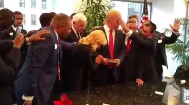 Donald Trump with religious leaders at Trump Tower in 2015