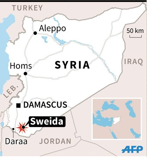 Map of Syria locating the southern city of Sweida (AFP Photo/Valentina Breschi)