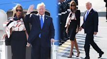 Melania Trump ridiculed for 'cabin crew' outfit as she lands in UK for state visit