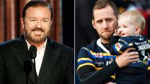 'F***ing busy': Ricky Gervais' brilliant message to stricken footy great
