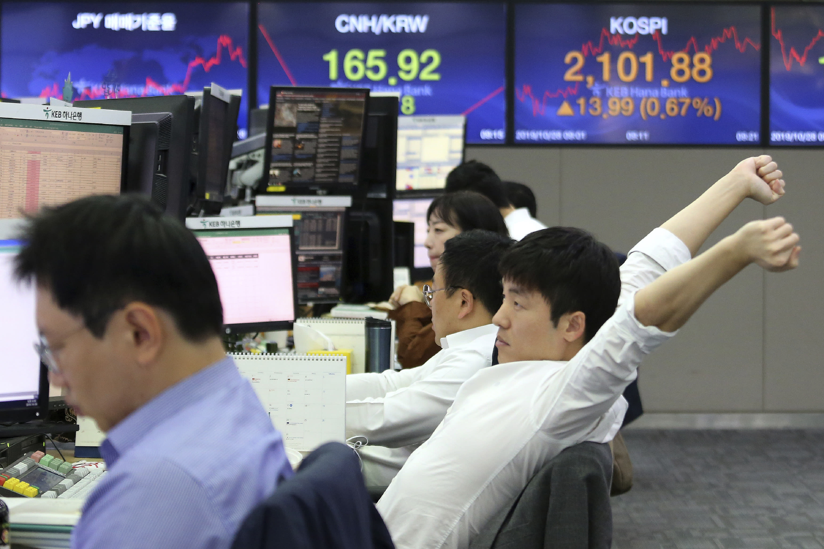 Global markets mostly higher ahead of busy week