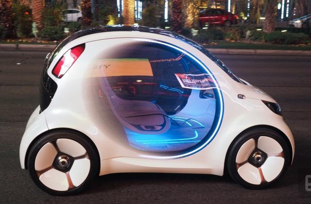 Cruising the Las Vegas Strip in the Smart Vision EQ concept car