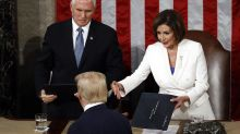 At State of the Union, Trump declines to shake hands with Pelosi