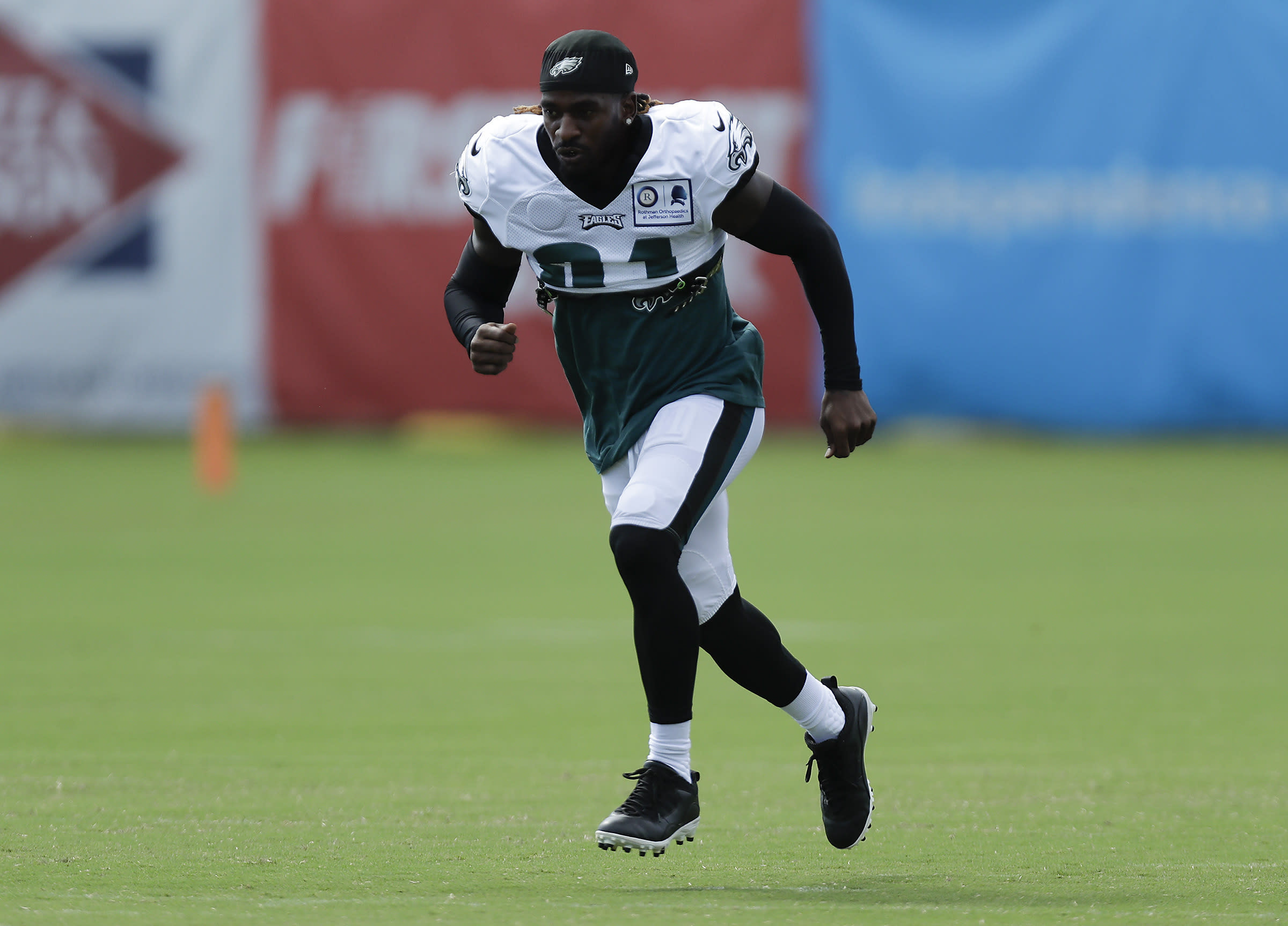 Philadelphia Eagles cornerback Nickell Robey-Coleman runs during an NFL football training camp practice in Philadelphia, Monday, Aug. 24, 2020. (Yong Kim/Pool Photo via AP)