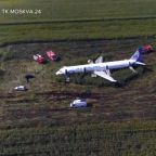 Russian jet crash lands into cornfield after flock of birds hit both engines