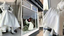 Bridal shop praised for displaying wedding dress on mannequin in wheelchair