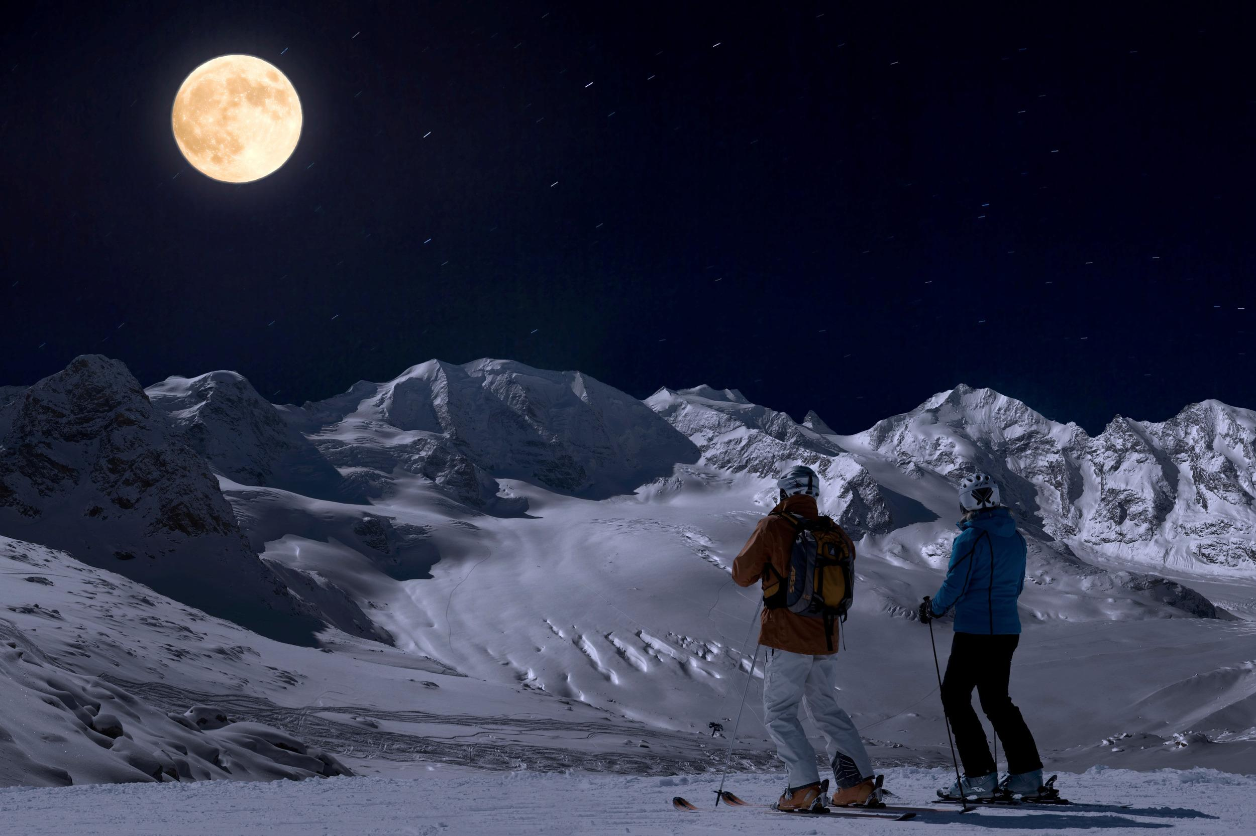 "Full moon skiing on the tranquil slopes in <a href=""http://www.engadin.stmoritz.ch/sommer/en/activities/meetins/gluena-plaina-full-moon-skiing-on-the-diavolezza/"" target=""_blank"">St Moritz</a>."