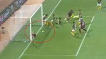 Injured player denies teammate's goal in worst set piece ever seen