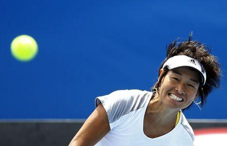 Japan's Kimiko Date-Krumm watches the ball during a training session at Melbourne Park