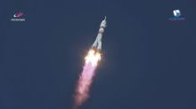 One American, two Russians blast off to International Space Station