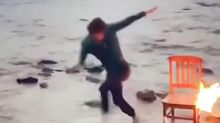 Tom Holland Runs Away from Flames After Nearly Catching on Fire During Man About Town Photo Shoot