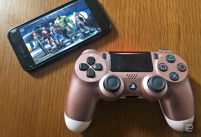 An iPhone running Google's Stadia gaming service