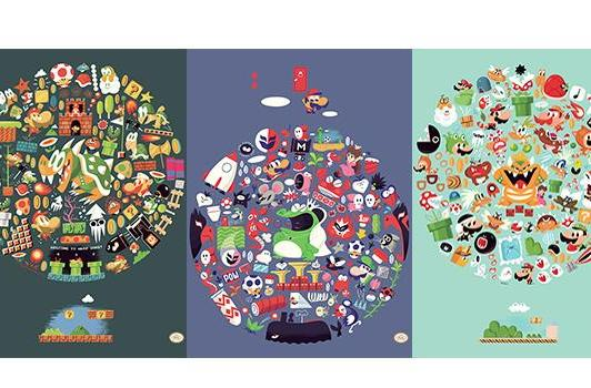 Recall past stages, enemies with these Mario prints