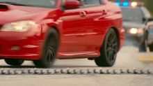 Is it possible to beat a police spike strip during a pursuit like in 'Baby Driver'?