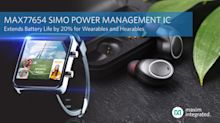 Maxim Integrated's Next-Generation SIMO Power Management IC Cuts Solution Size by Half and Extends Battery Life by 20 Percent for Wearables and Hearables