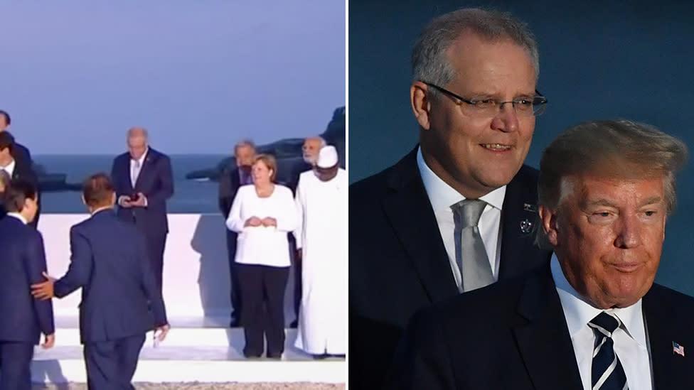 ScoMo all alone as world leaders mingle at G7 photo shoot