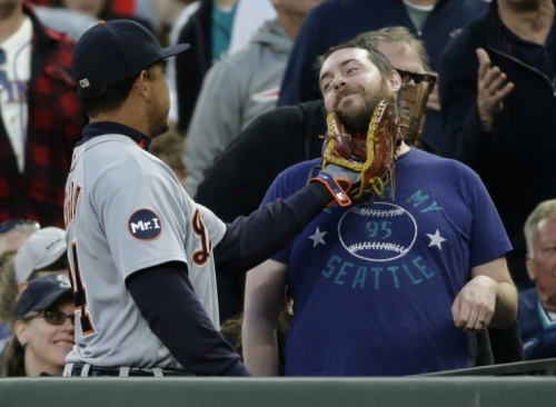 Miguel Cabrera made a new friend in Seattle. (AP)