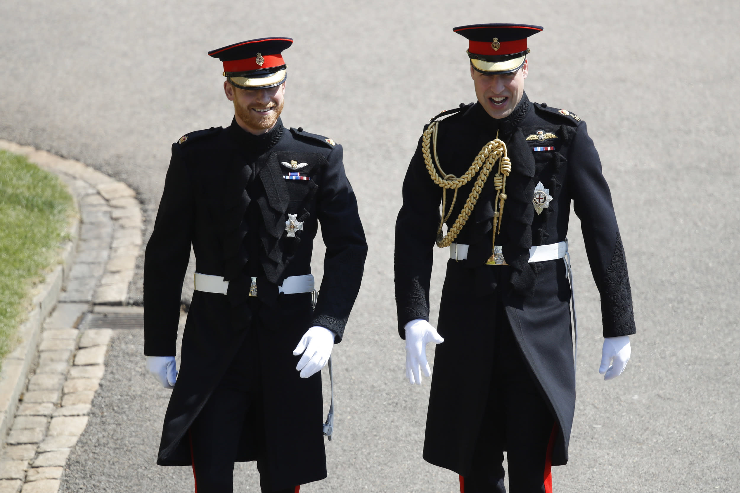 <p>Prince Harry, arrives with his best man Prince William, Duke of Cambridge for the wedding ceremony of Prince Harry and US actress Meghan Markle at St George's Chapel, Windsor Castle on May 19, 2018 in Windsor, England.</p>  <p>(Photo by Odd Anderson - WPA Pool/Getty Images)</p>