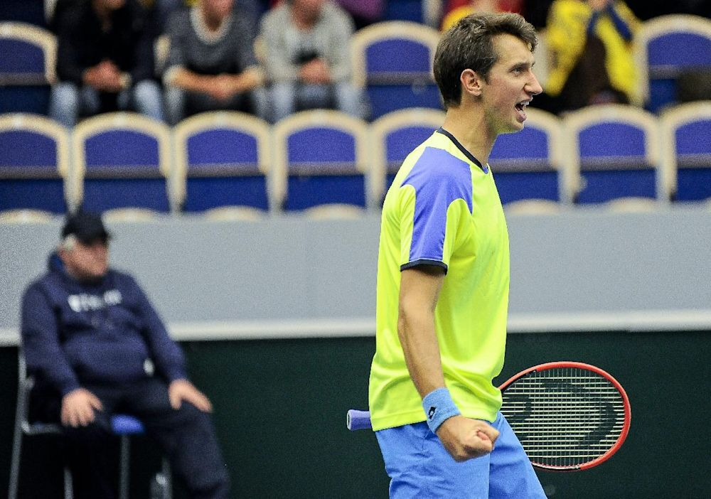 Ukraine's Sergiy Stakhovsky (seen here playing Sweden last April) and the rest of his Davis Cup team will have to find another place to play, after the ITF rejected Kiev as a host for a September tie against Belgium. (AP photo/ TT News Agency / Bjorn Lindgren)
