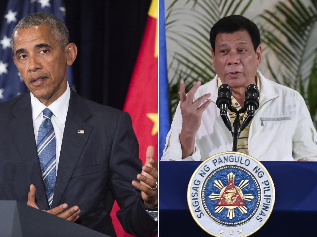 US President Barack Obama (L) met briefly with Philippine President Rodrigo Duterte (R) in Laos on September 7, 2016 (AFP Photo/Saul Loeb, Manman Dejeto)
