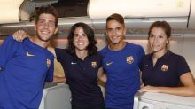 Plane crazy! Barca's mixed-sex tour sees men lap-up Business Class with women left in Economy