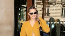Bella Hadid Puts the Sexy Cardigan Trend Into Action